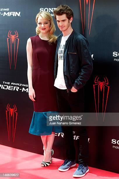 Actress Emma Stone and actor Andrew Garfield attend 'The Amazing Spider-Man' photocall at Villamagna Hotel on June 21, 2012 in Madrid, Spain.