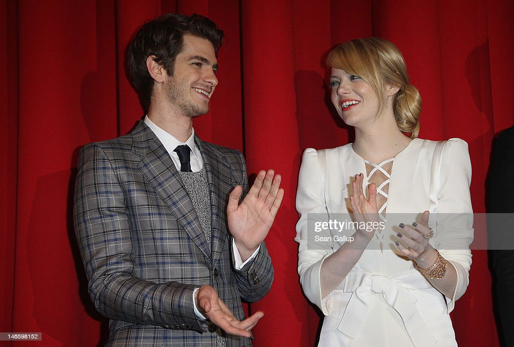 Actress Emma Stone and actor Andrew Garfield attend the Germany premiere of 'The Amazing Spider-Man' at Sony Center on June 20, 2012 in Berlin, Germany.