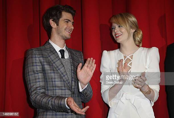 Actress Emma Stone and actor Andrew Garfield attend the Germany premiere of 'The Amazing SpiderMan' at Sony Center on June 20 2012 in Berlin Germany