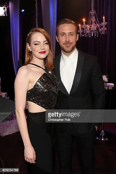 Actress Emma Stone and actor Ryan Gosling attend The 22nd Annual Critics' Choice Awards at Barker Hangar on December 11 2016 in Santa Monica...