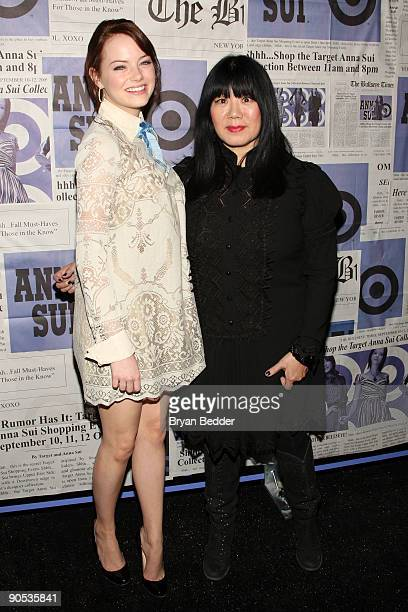 "Actress Emma Stone and designer Anna Sui attend the launch of Sui's ""Gossip Girl"" inspired collection at the Target pop-up store on September 9, 2009..."