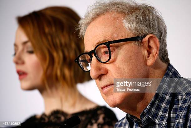 """Actress Emma Stone and director Woody Allen attend the """"Irrational Man"""" press Conference during the 68th annual Cannes Film Festival on May 15, 2015..."""