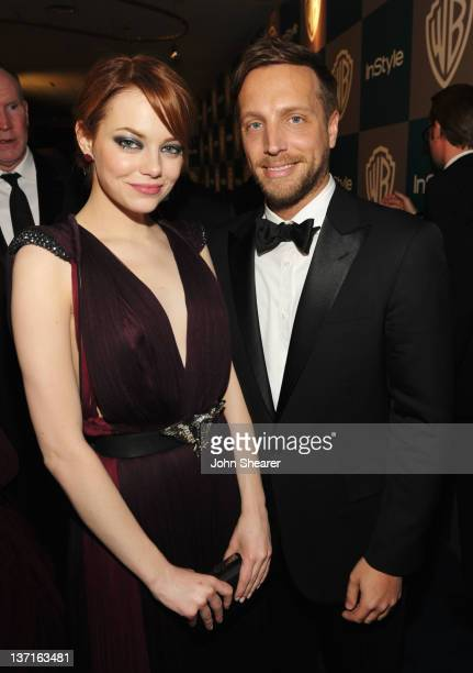 Actress Emma Stone and Editor of InStyle Ariel Foxman attend the InStyle and Warner Bros 69th Annual Golden Globe Awards PostParty at The Beverly...