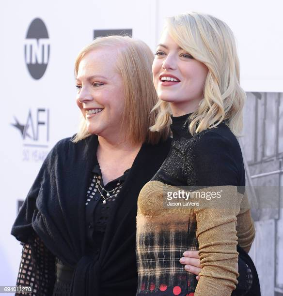 Actress Emma Stone and her mother Krista Stone attend the AFI Life Achievement Award gala at Dolby Theatre on June 8 2017 in Hollywood California