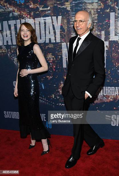 Actress Emma Stone and Larry David attend SNL 40th Anniversary Celebration at Rockefeller Plaza on February 15 2015 in New York City