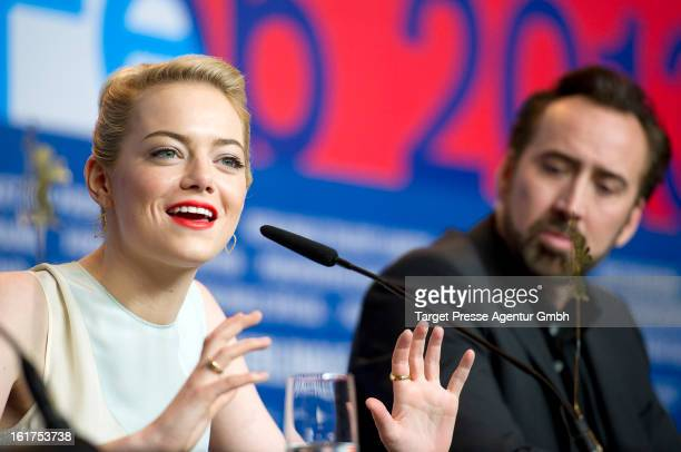 Actress Emma Stone and Nicolas Cage attend 'The Croods' Press Conference during the 63rd Berlinale International Film Festival on February 15 2013 in...
