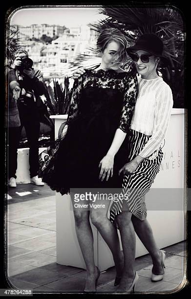Actress Emma Stone and Parker Posey are photographed on May 15 2015 in Cannes France