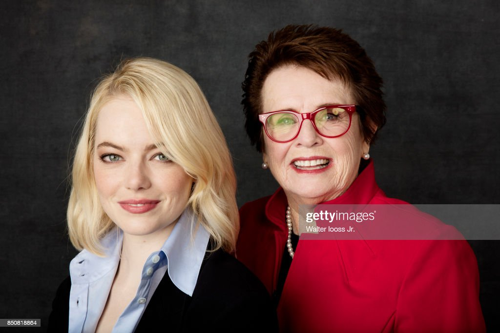 Actress Emma Stone and tennis player Billie Jean King are photographed for Sports Illustrated on September 9, 2017 at BJK National Tennis Center Flushing, Queens, New York.