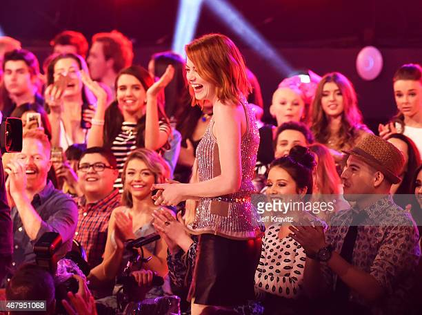 Actress Emma Stone approaches the stage during Nickelodeon's 28th Annual Kids' Choice Awards held at The Forum on March 28 2015 in Inglewood...