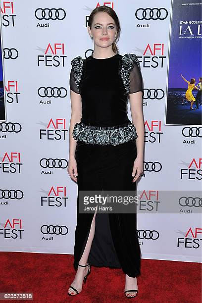 Actress Emma Stone arrives at AFI FEST 2016 Presented By Audi - Screening Of Lionsgate's 'La La Land' at TCL Chinese Theatre on November 15, 2016 in...