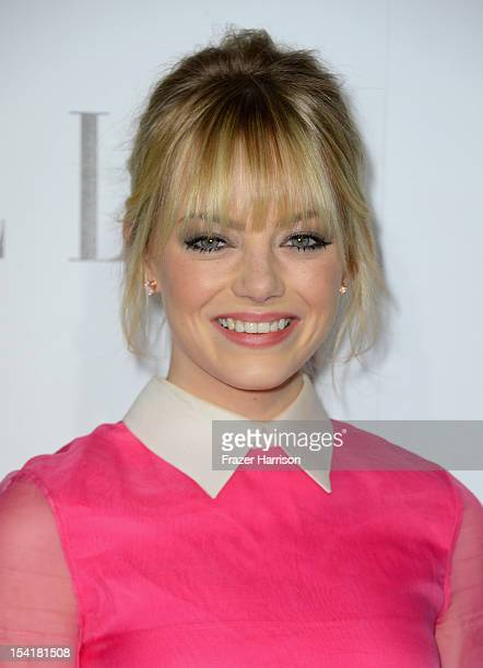 Actress Emma Stone arrives at ELLE's 19th Annual Women In Hollywood Celebration at the Four Seasons Hotel on October 15 2012 in Beverly Hills...