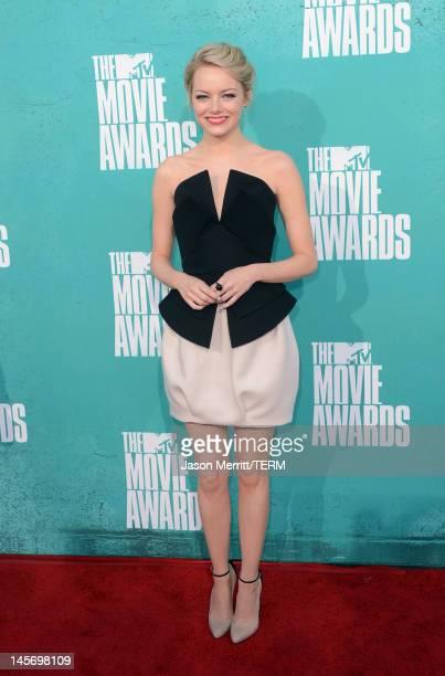 Actress Emma Stone arrives at the 2012 MTV Movie Awards held at Gibson Amphitheatre on June 3 2012 in Universal City California