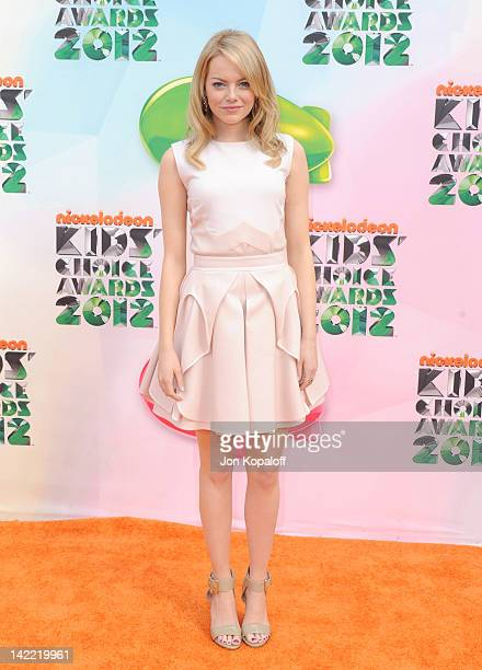Actress Emma Stone arrives at the 2012 Nickelodeon's Kids' Choice Awards held at the Galen Center on March 31 2012 in Los Angeles California