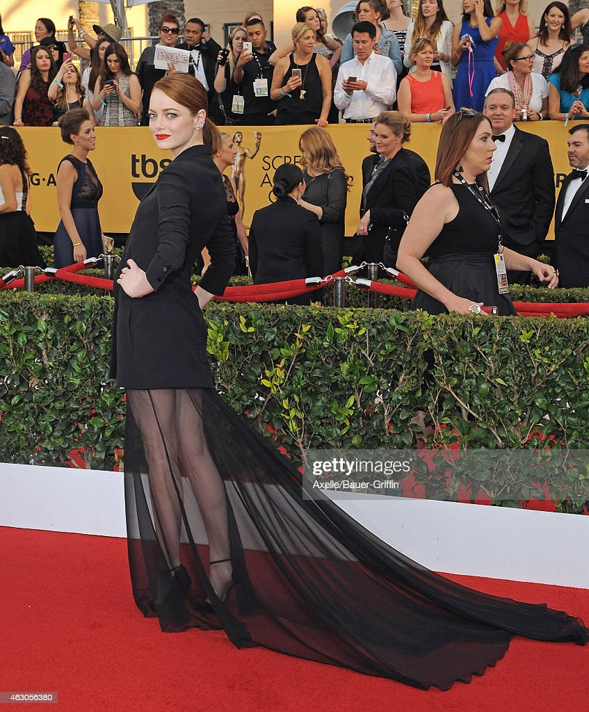 Actress Emma Stone arrives at the 21st Annual Screen Actors Guild Awards at The Shrine Auditorium on January 25, 2015 in Los Angeles, California.