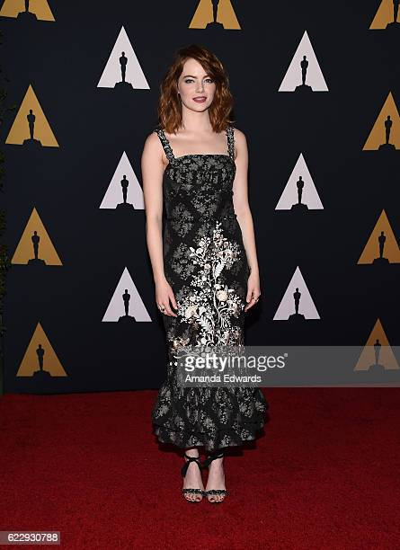 Actress Emma Stone arrives at the Academy of Motion Picture Arts and Sciences' 8th Annual Governors Awards at The Ray Dolby Ballroom at Hollywood...