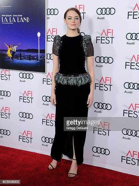 Actress Emma Stone arrives at the AFI FEST 2016 Presented By Audi Screening Of Lionsgate's 'La La Land' at TCL Chinese Theatre on November 15 2016 in...