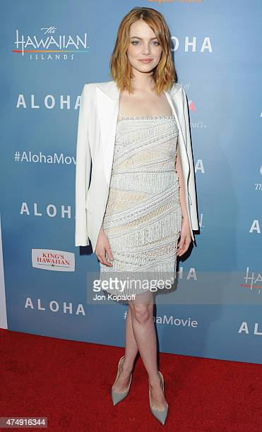 """Actress Emma Stone arrives at the Los Angeles Premiere """"Aloha"""" at The London West Hollywood on May 27, 2015 in West Hollywood, California."""