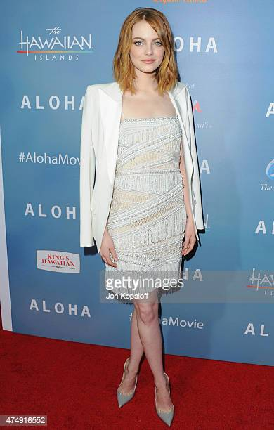 Actress Emma Stone arrives at the Los Angeles Premiere Aloha at The London West Hollywood on May 27 2015 in West Hollywood California