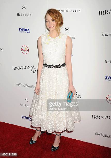 Actress Emma Stone arrives at the Premiere Of Sony Pictures Classics' 'Irrational Man' at the WGA Theatre on July 9, 2015 in Beverly Hills,...