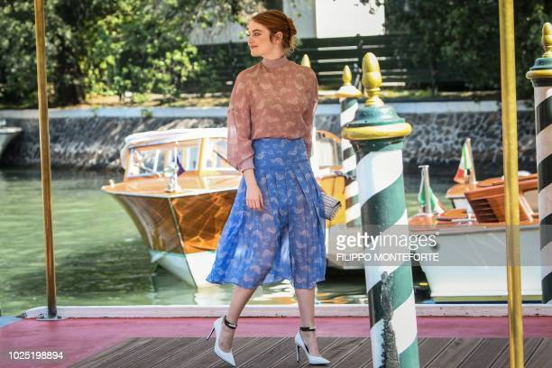 Actress Emma Stone arrives by boat at the Excelsior hotel on August 30 2018 during the 75th Venice Film Festival at Venice Lido