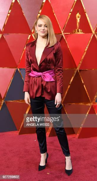US actress Emma Stone arrives for the 90th Annual Academy Awards on March 4 in Hollywood California / AFP PHOTO / ANGELA WEISS