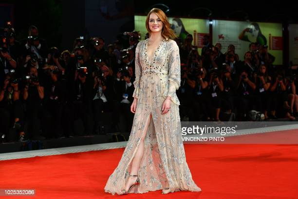 TOPSHOT Actress Emma Stone arrives for the screening of the film The Favourite presented in competition on August 30 2018 during the 75th Venice Film...