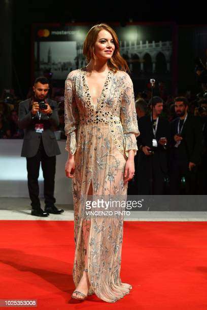 Actress Emma Stone arrives for the screening of the film The Favourite presented in competition on August 30 2018 during the 75th Venice Film...