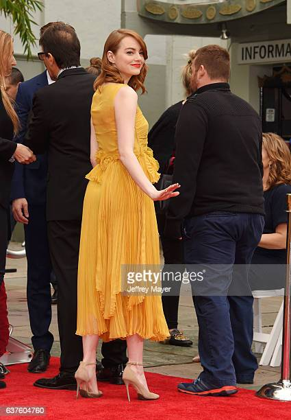 Actress Emma Stone attend the Hand And Footprint Ceremony for Ryan Gosling and Emma Stone at the TCL Chinese Theatre IMAX on December 7 2016 in...