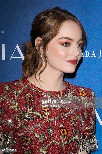 Actress Emma Stone attends 'LA LA LAND' Premiere at Cinema UGC Normandie on January 10 2017 in Paris France