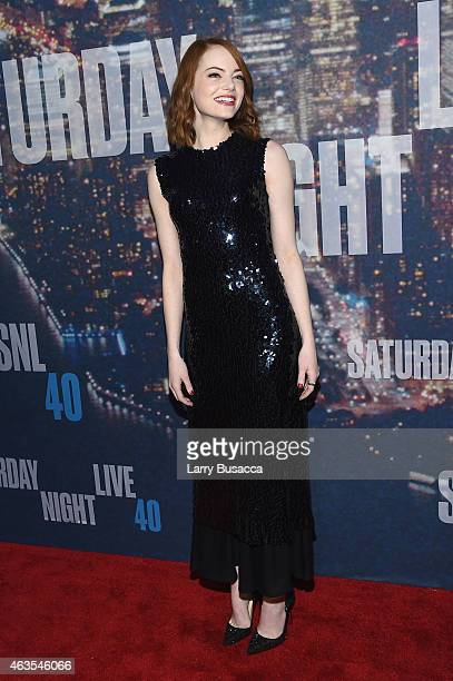 Actress Emma Stone attends SNL 40th Anniversary Celebration at Rockefeller Plaza on February 15, 2015 in New York City.