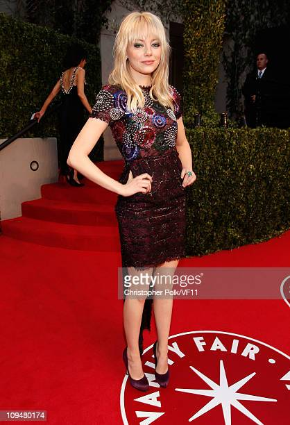 Actress Emma Stone attends the 2011 Vanity Fair Oscar Party Hosted by Graydon Carter at the Sunset Tower Hotel on February 27 2011 in West Hollywood...