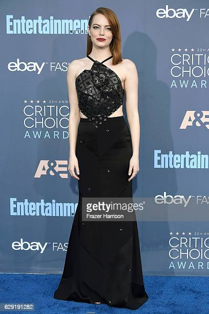 Actress Emma Stone attends The 22nd Annual Critics' Choice Awards at Barker Hangar on December 11 2016 in Santa Monica California