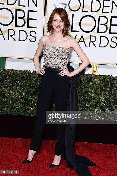Actress Emma Stone attends the 72nd Annual Golden Globe Awards at The Beverly Hilton Hotel on January 11, 2015 in Beverly Hills, California.