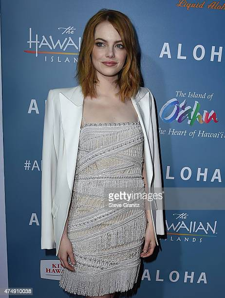 Actress Emma Stone attends the Aloha Los Angeles premiere at The London West Hollywood on May 27 2015 in West Hollywood California