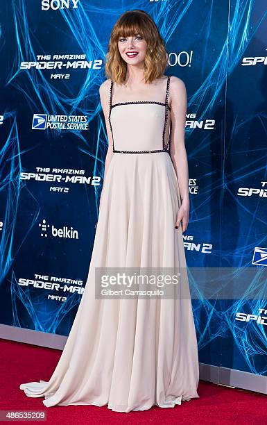 Actress Emma Stone attends The Amazing SpiderMan 2 premiere at the Ziegfeld Theater on April 24 2014 in New York City