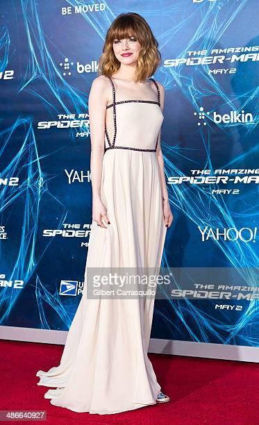 Actress Emma Stone attends 'The Amazing SpiderMan 2' premiere at the Ziegfeld Theater on April 24 2014 in New York City
