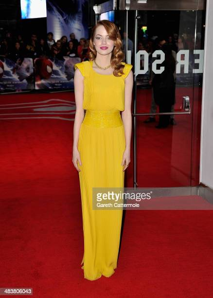 Actress Emma Stone attends 'The Amazing SpiderMan 2' world premiere at the Odeon Leicester Square on April 10 2014 in London England
