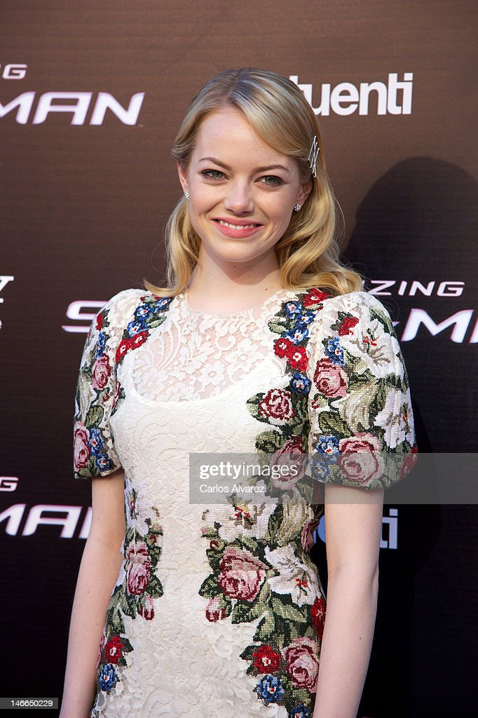 Actress Emma Stone attends 'The Amazing Spider-Man' premiere at Callao cinema on June 21, 2012 in Madrid, Spain.