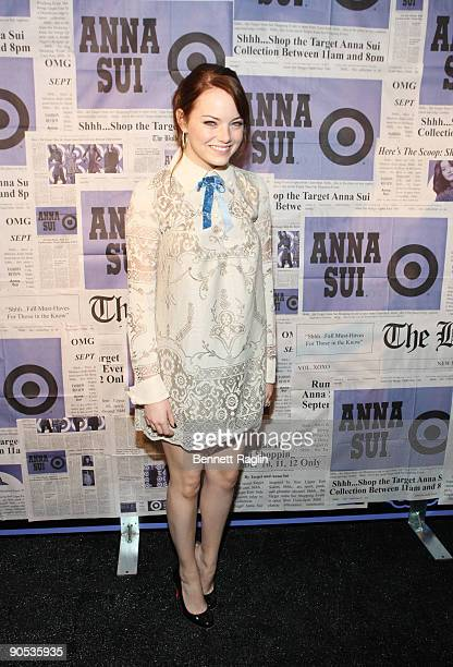 Actress Emma Stone attends the Anna Sui for Target pop-up store launch party at Anna Sui for Target Pop-Up Store on September 9, 2009 in New York...