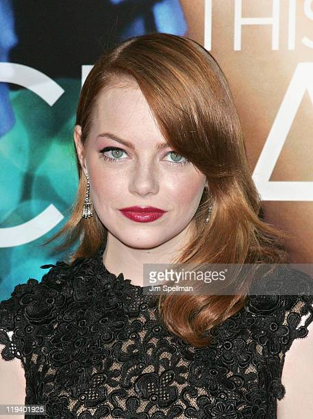 Actress Emma Stone attends the Crazy Stupid Love World Premiere at the Ziegfeld Theater on July 19 2011 in New York City