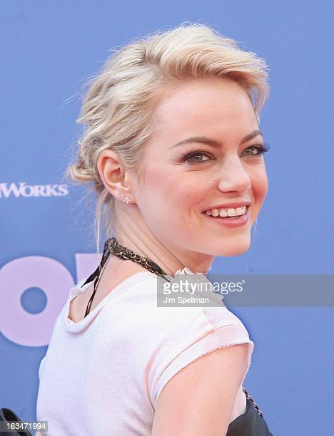 Actress Emma Stone attends The Croods premiere at AMC Loews Lincoln Square 13 theater on March 10 2013 in New York City