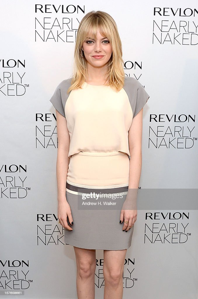 Actress Emma Stone attends the Emma Stone Revlon's NEW Nearly Naked Makeup Launch at The London Hotel on December 5, 2012 in New York City.