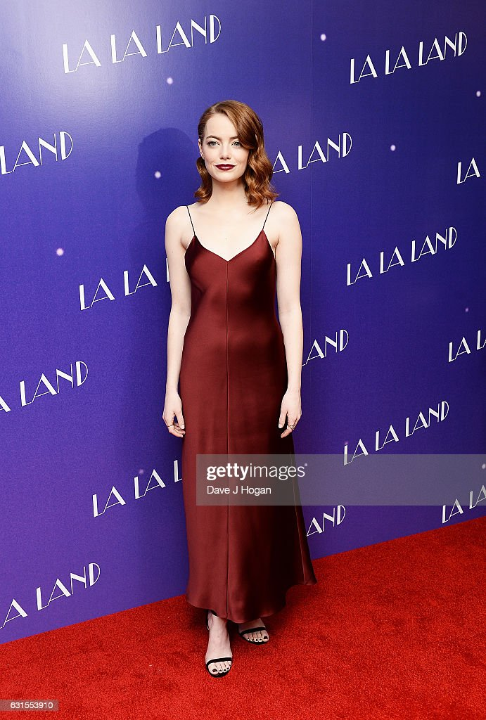 Actress Emma Stone attends the Gala screening of 'La La Land' at Ham Yard Hotel on January 12, 2017 in London, England.