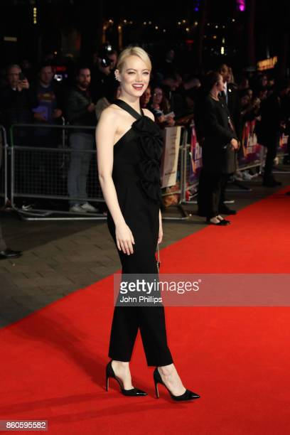 Actress Emma Stone attends the Headline Gala Screening UK Premiere of Killing of a Sacred Deer during the 61st BFI London Film Festival on October 12...