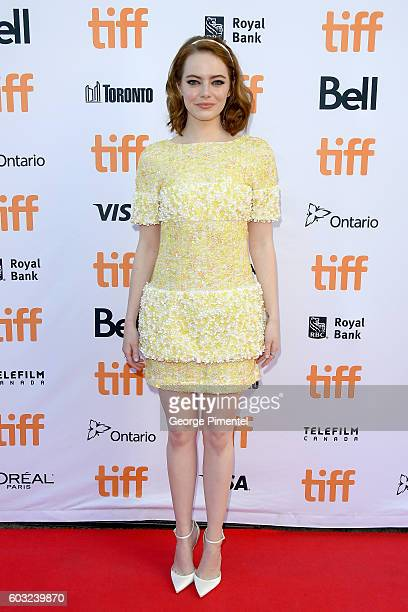 Actress Emma Stone attends the La La Land premiere during the 2016 Toronto International Film Festival at Princess of Wales Theatre on September 12...