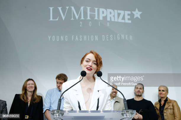 Actress Emma Stone attends the LVMH Prize 2018 Edition at Fondation Louis Vuitton on June 6 2018 in Paris France