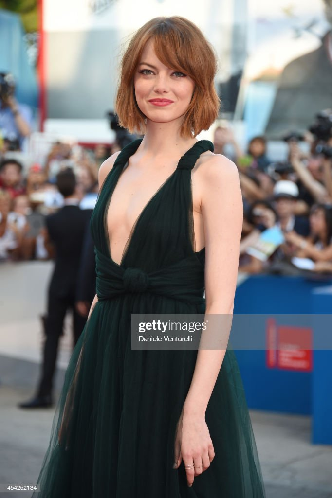 Actress Emma Stone attends the Opening Ceremony and 'Birdman' premiere during the 71st Venice Film Festival at Palazzo Del Cinema on August 27, 2014 in Venice, Italy.