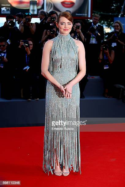 Actress Emma Stone attends the opening ceremony and premiere of 'La La Land' during the 73rd Venice Film Festival at Sala Grande on August 31 2016 in...