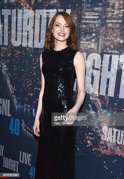 Actress Emma Stone attends the SNL 40th Anniversary Celebration at Rockefeller Plaza on February 15 2015 in New York City