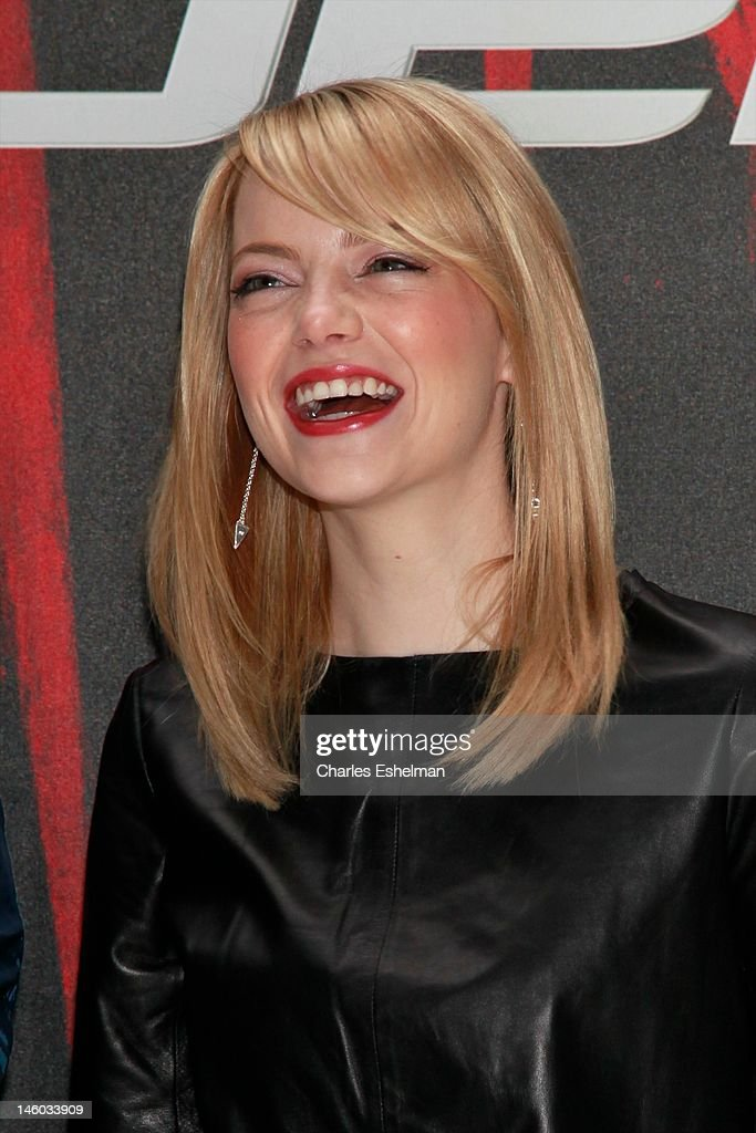 Actress Emma Stone attends the 'The Amazing Spider-Man' New York City Photo Call at Crosby Street Hotel on June 9, 2012 in New York City.